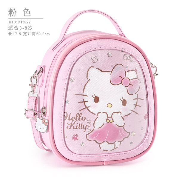 Hello Kitty Childrens Bag Princess Fashion Messenger Bag Backpack Western Cute Handbag Small Girl Baby KT cartoon pattern adjustable strap