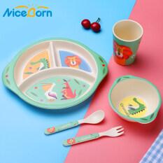 NiceBorn Bộ 5 món khay ăn làm từ tre an toàn cho bé Baby Dinnerware Tableware Set Baby Divided Plate Kids DishesCute Cartoon Cutlery Plate Bowl Cup Fork Spoon Children Eco-friendly Bamboo Fiber Feeding Tableware Set