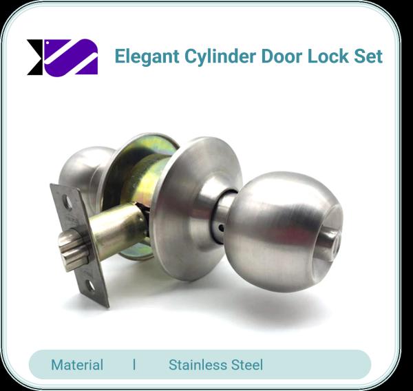 Elegant Cylinder Door Lock Set Cylindrical for Home Bedroom Room Door SS