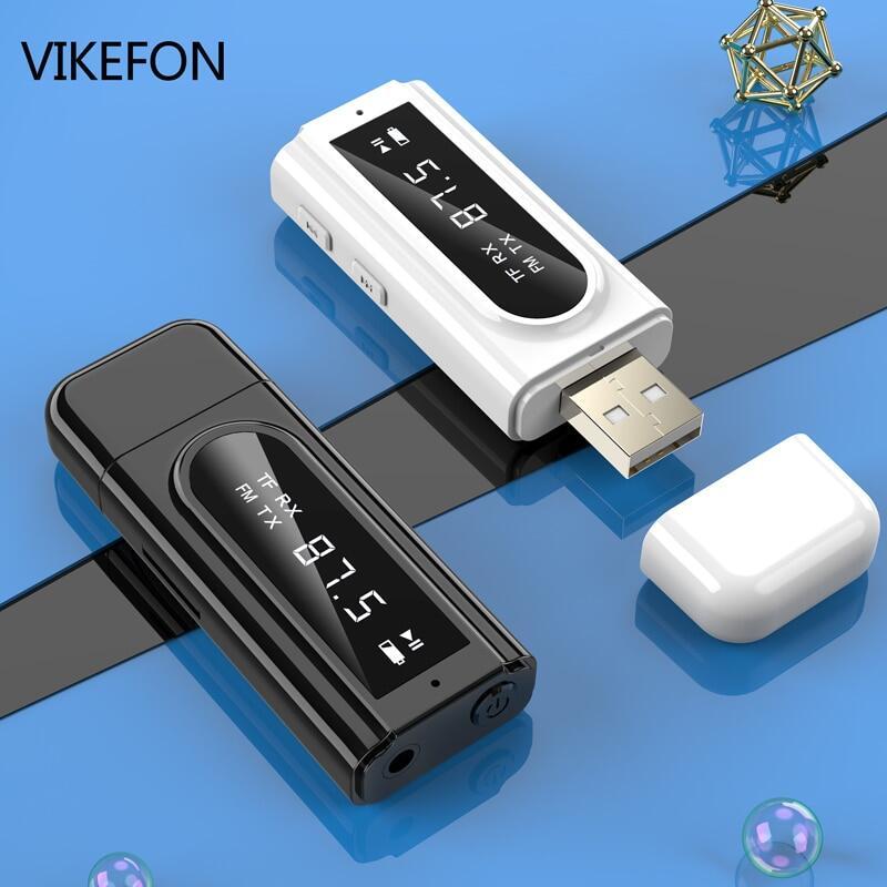 Bộ Thu Phát Bluetooth 5.0 Đầu Đọc Thẻ Điều Biến FM Xe Hơi LED, Bộ Chuyển Đổi Âm Thanh Không Dây USB Cắm AUX 3.5Mm, Rảnh Tay Mic
