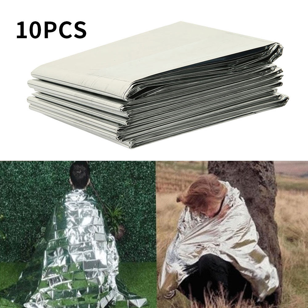 【Limit Free Shipping+COD】10psc Outdoor First Aid Survival Emergency Tent Blanket Sleep Bag Camping Shelter BX Fire Blanket