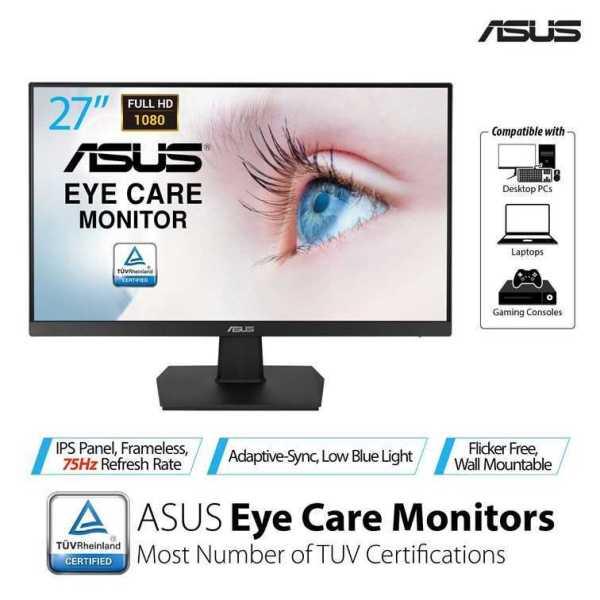 ASUS VA27EHE Eye Care Monitor – 27 inch, Full HD, IPS, Frameless, 75Hz, Adaptive-Sync/FreeSync™, Low Blue Light, Flicker Free, Wall Mountable Malaysia