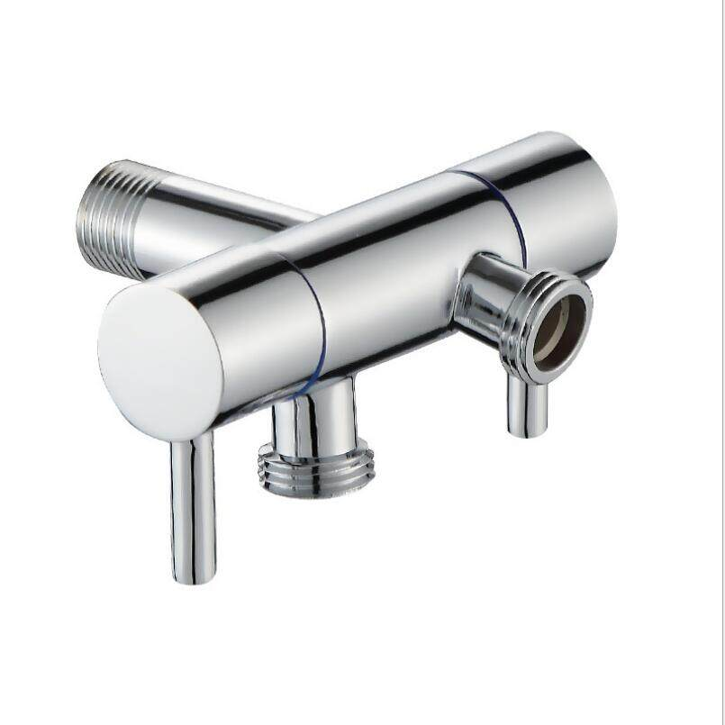 G1/2 Brass Chrome Double Head Dual Use Bibcock  Cold Tap  Washing machine Faucet  Toilet Bibcock tap garden Faucet Angle Valve