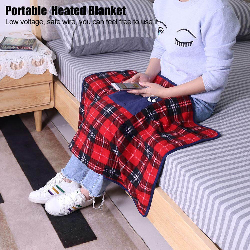Portable Usb Powered Electric Heated Blanket Soft Snuggle Wrap Heated Office Car Pad Knee Cover By Minxin.