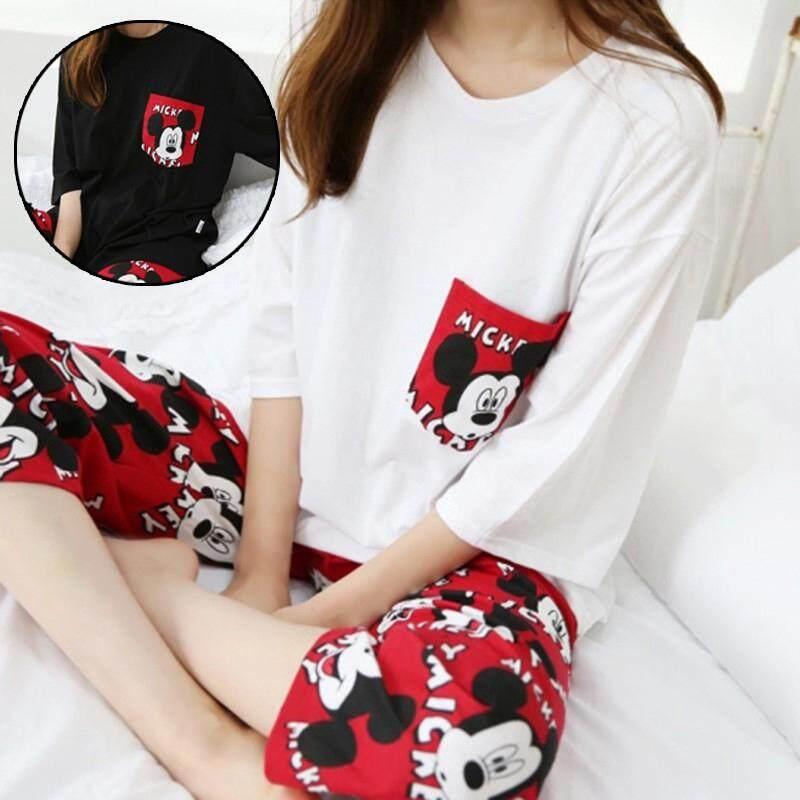 8812737c46c4 T-shirt shorts two-piece suit Summer short-sleeved cute cartoon female  pajamas