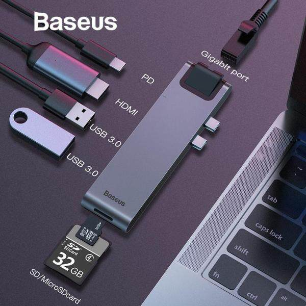 Baseus USB Type C HUB C To HDMI RJ45 Ethernet Multi USB 3.0 Thunderbolt 3 Power Adapter For MacBook Pro air USB-C Dock Splitter