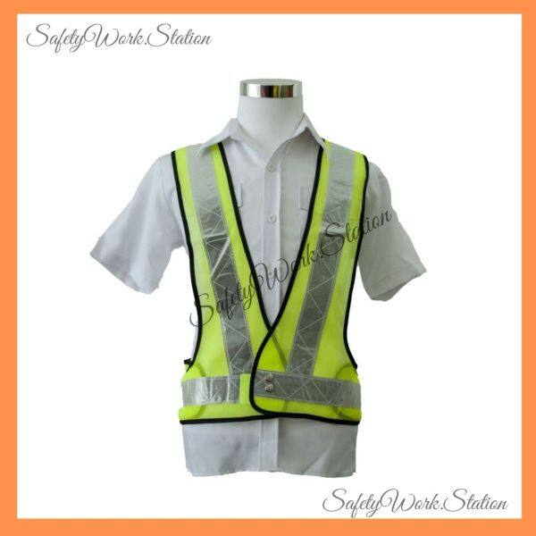 Safety Vest Netting  V  Shape Lime Green with White Reflector