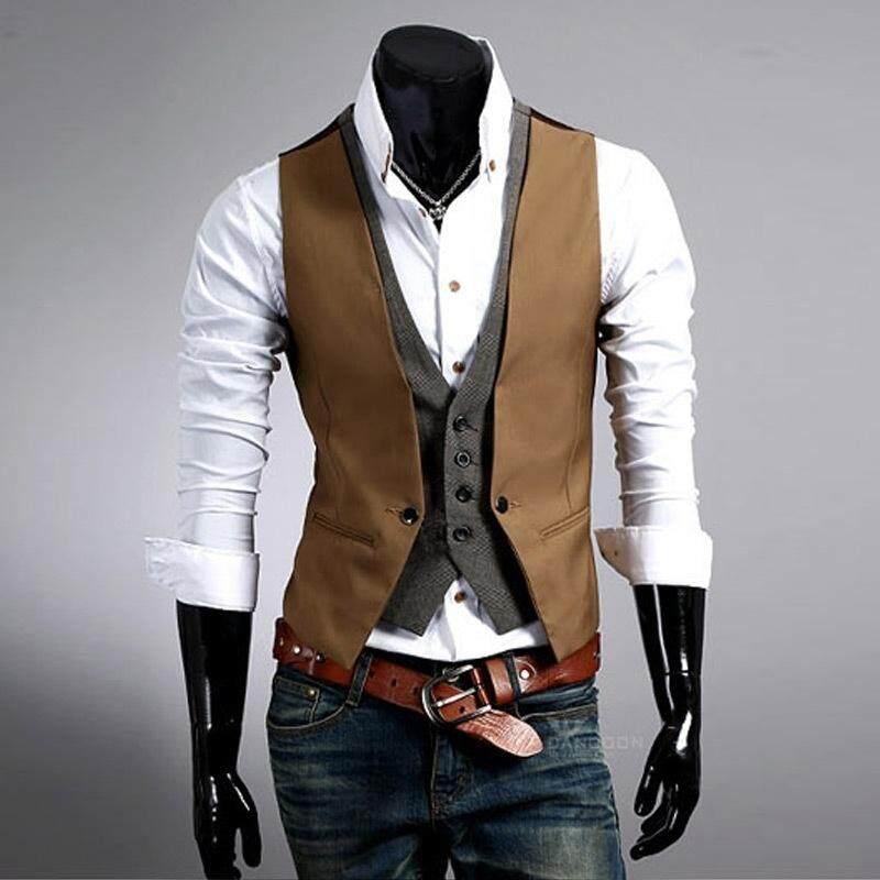 Men's Vest Fashion Fake Two-piece Slim Men Suit Vest M0882