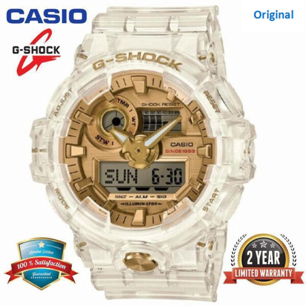 (In Stock) Original G-Shock GA735 35th Anniversary Edition Men Sport Watch Dual Time Display 200M Water Resistant Shockproof and Waterproof World Time LED Auto Light Chronograph Sports Wrist Watches GA-735E-7A Transparent White Malaysia