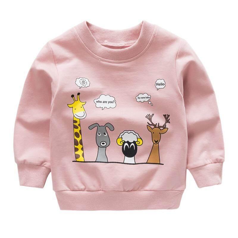 เด็กเด็กเด็ก Grils แขนยาวการ์ตูนสัตว์พิมพ์เสื้อยืดสบายๆเสื้อ 1-6 ครั้ง.