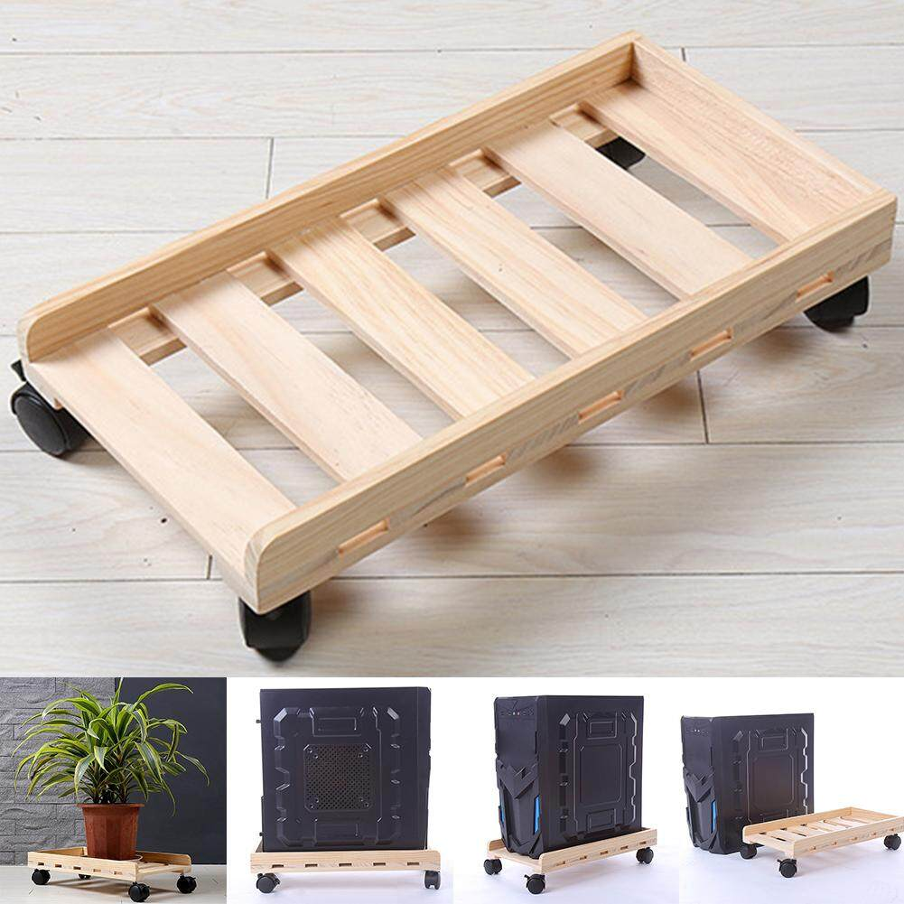 Desktop Rolling Wheels Wooden Heat Dissipation Computer CPU Stand