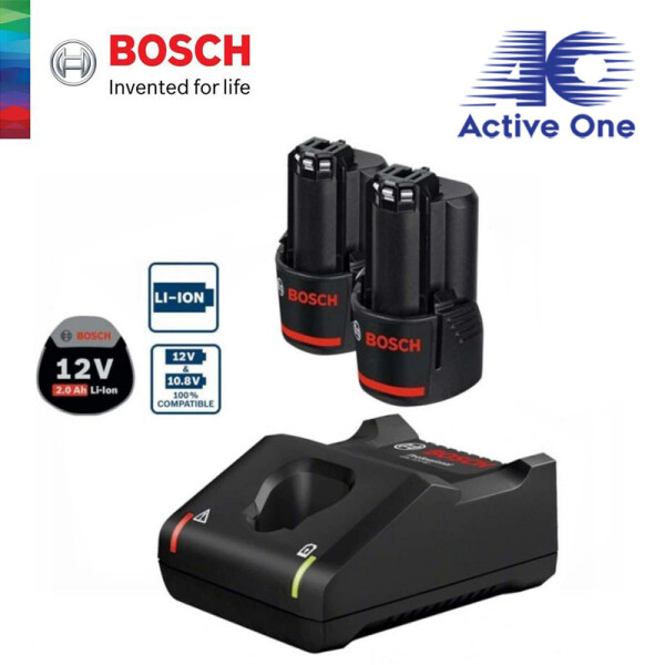 ActiveOne BOSCH 12V 2.0Ah Professional Starter Kit (2 x 2.0Ah Batteries + GAL 12V-40 Fast Charger) - 1600A01B8Y - Fulfilled By ACTIVEONE