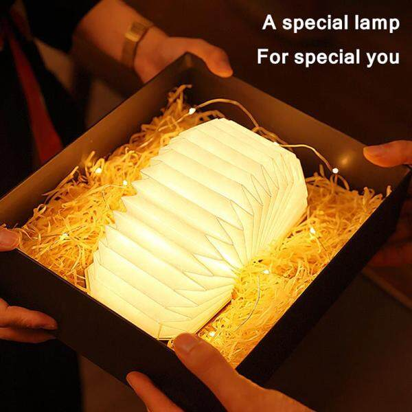 Table Lamp Folding Organ Lamp Portable Paper Atmosphere Lamp With Usb Rechargeable Night Light Creative Gift Decoration Lamp