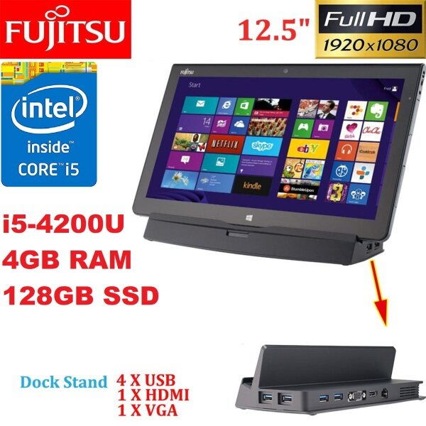 FUJITSU ARROWS TABQ704V [ INTEL CORE i5-4200U  4TH GEN/ 4GB RAM/128GB SSD/12.5  TOUCH SCREEN LED/DOCKING STATION/ WIN 10( REFURBISHED) BOX PACK Malaysia