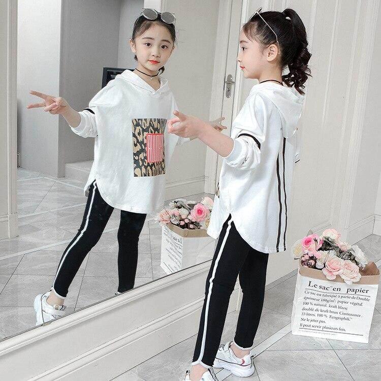 Boutique trẻ em quần áo Thu Đông xuân bé gái Bộ lưới dài cao cấp + Tặng 2 miếng phù hợp với áo Trẻ Em Quần áo bộ trang phục phù hợp với áo