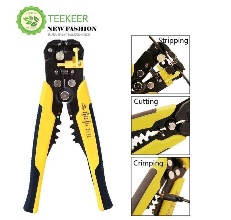Teekeer Wire Stripping Tool Self-adjusting Cable Crimper Automatic Wire Stripper/ Cutting Pliers Tool For Industry 10-22 AWG Stranded Wire Cutting