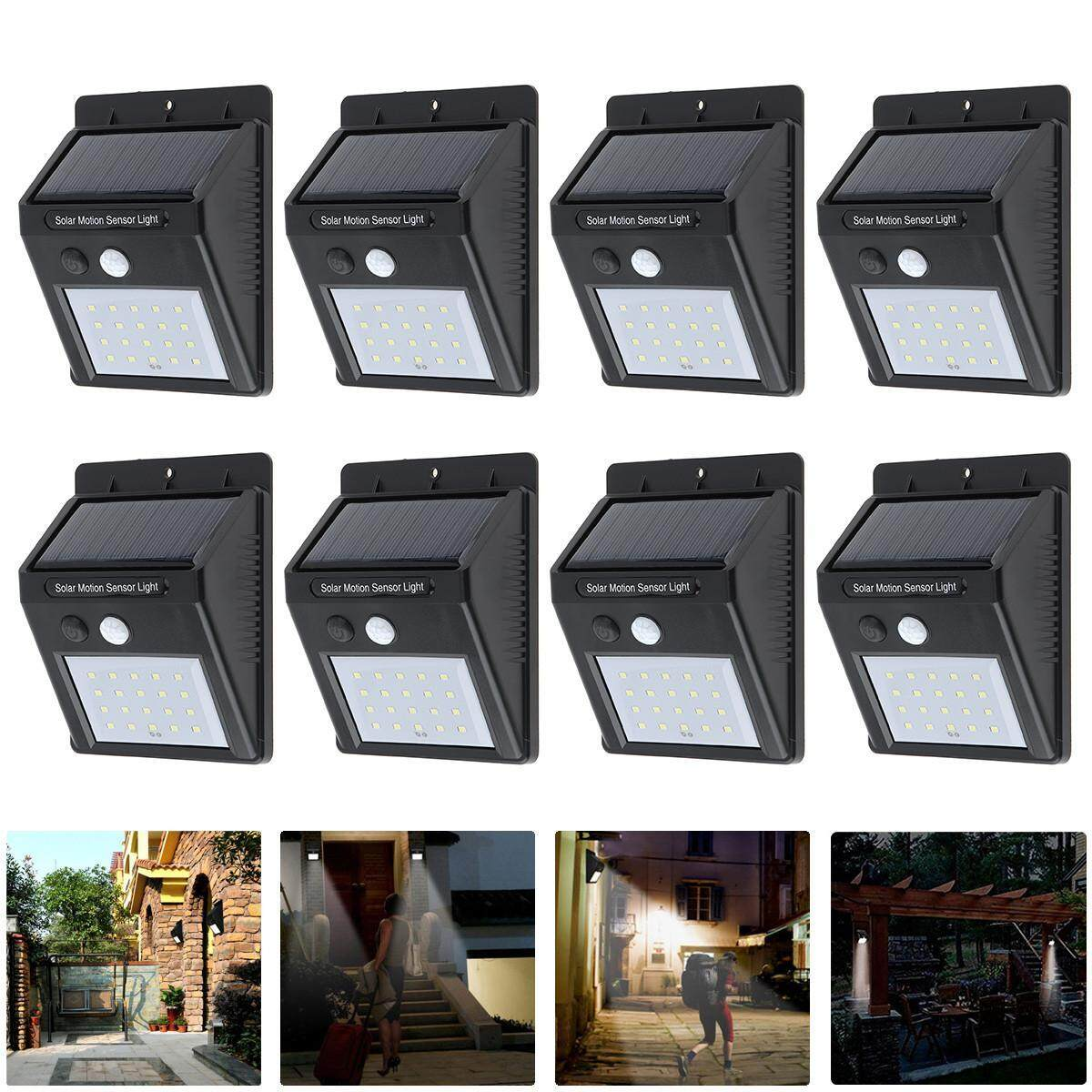 8Pcs LED Solar Power PIR Motion Sensor Wall Light 20 LED Outdoor Waterproof Energy Saving Street Yard Path Home Garden Security Lamp