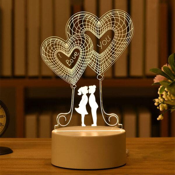 Đèn Ngủ 3D Cảm Ứng Thông Minh Đèn Phòng 7 Màu Cho Trẻ Em Người Yêu Quà Cưới Valentine Sinh Nhật Đảng Trang Trí Nội Thất
