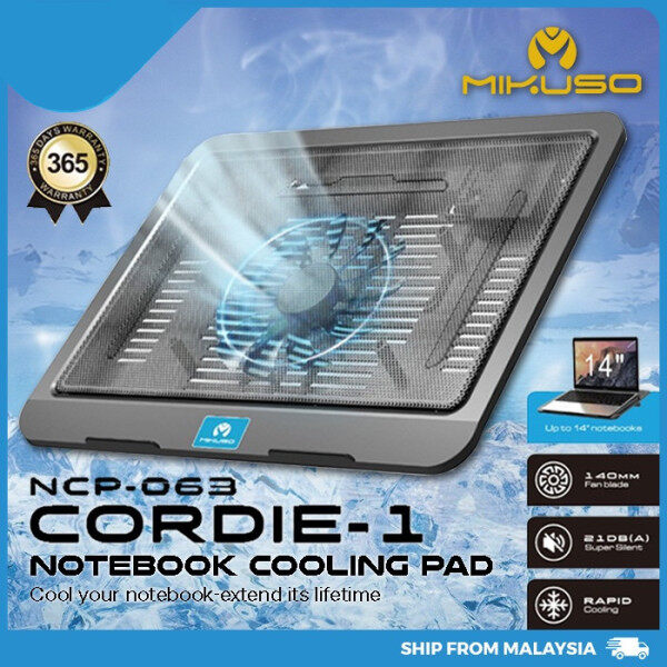 MIKUSO NCP-063 Cordie-1 Notebook Cooling Pad 140mm Fan Blade Super Slient Cooling Fan Height Adjustable Malaysia