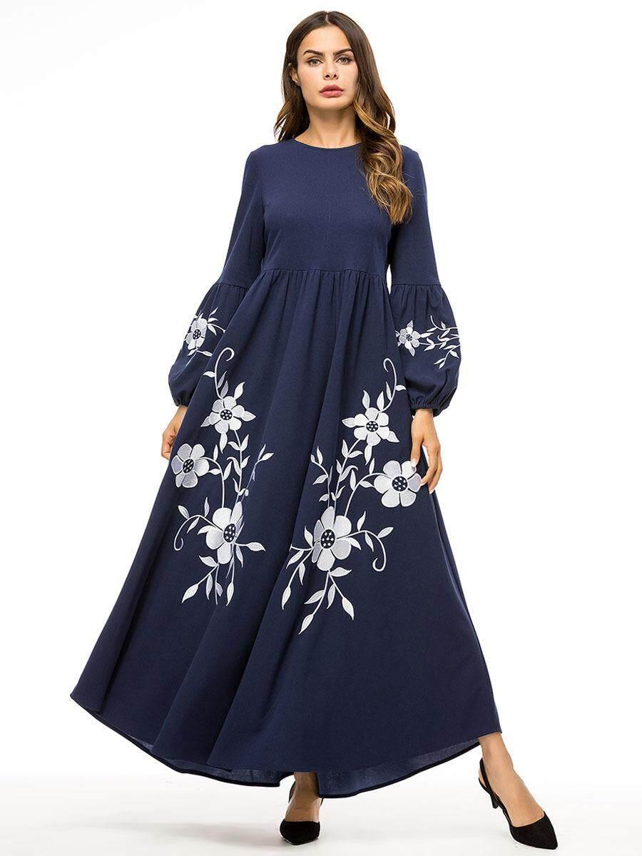 bf1cc9d31e Muslim Ethnic Womens Embroidered Kaftan Boho Floral Long Maxi Dress Islamic  Loose Abaya