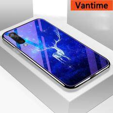 Vantime For Samsung Galaxy A50 A50S A30S Blue-Ray Glass Case, Floral Patterned Hard Shockproof Protective Anti-Scratch Back Cover