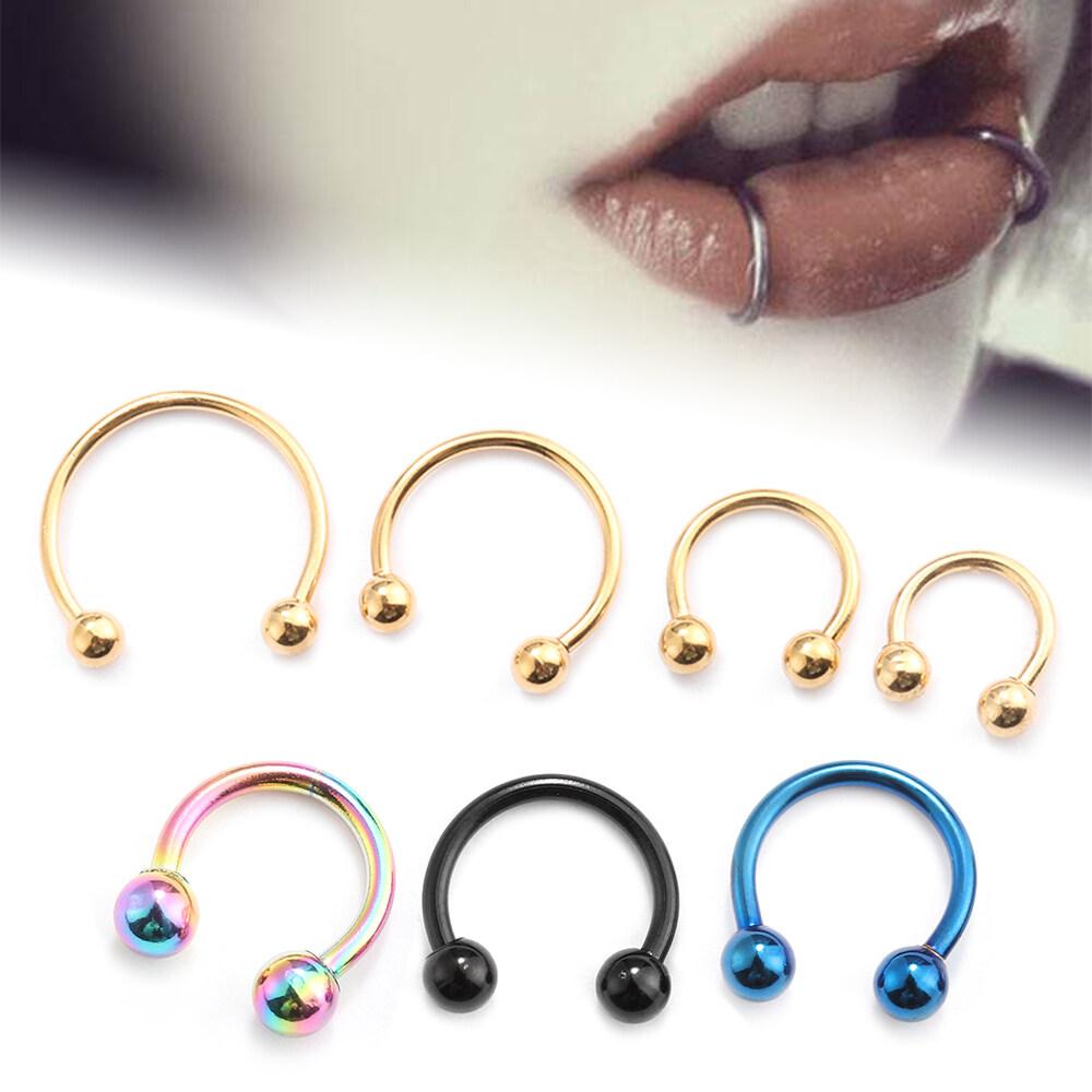 New Women Men 16 Gauge Stainless Steel Hip Hop Nose Septum Ring