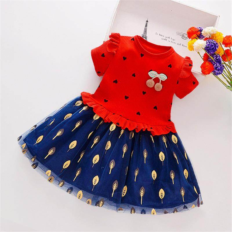 538cd8cb3ed Summer Casual Baby Girls Short Sleeve Heart Leaves Pattern Patchwork Dress  Kids Toddler Princess Sundress