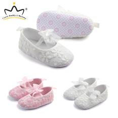 Giày Em Bé I Love Daddy & Mummy Giày Ren Hoa Dễ Thương Thắt Nơ Mềm Chống Trượt Cho Bé Sơ Sinh 0-18 Tháng Tuổi
