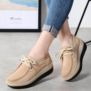Dosreal Dành Cho Nữ Thời Trang Nền Tảng Giày Phong Cách Hàn Quốc Màu Đen Da Lộn Da Trượt Trên Nêm Nữ Giày Nữ thumbnail
