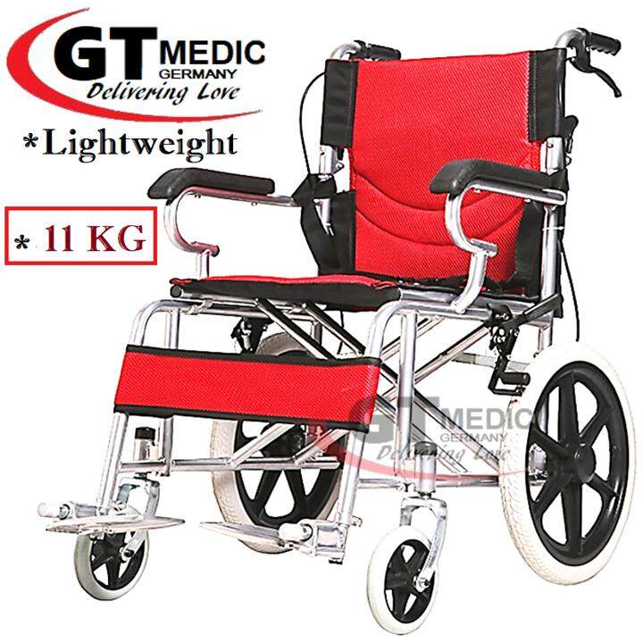 German Medicare Strong Back Ergonomic Lightweight Portable Comfort Standard  Steel Travel Transport Wheelchair + Foldable Backrest / Kerusi Roda