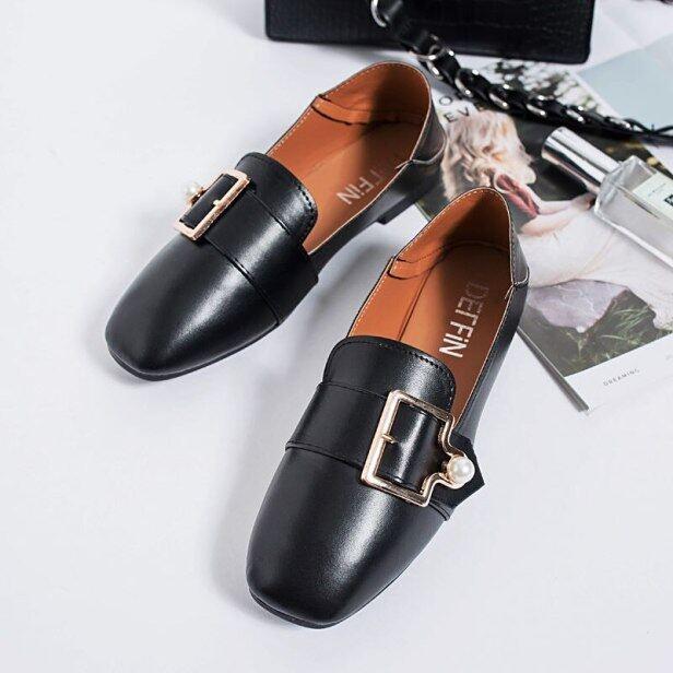 Duy Nhất Giày Giày Bệt Nữ Mùa Xuân Năm 2021 Giày Sữa Đậu Hà Lan One-Step Phiên Bản Hàn Quốc Mới Giày Da Nhỏ Màu Đỏ Lưới Xu Hướng giá rẻ