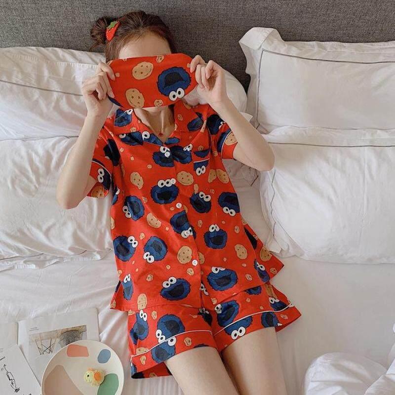 Nơi bán Summer Cartoon Cute Sesame Street Cookie Strange Cotton Short-Sleeved Shorts Pajamas Female Couple Home Wear