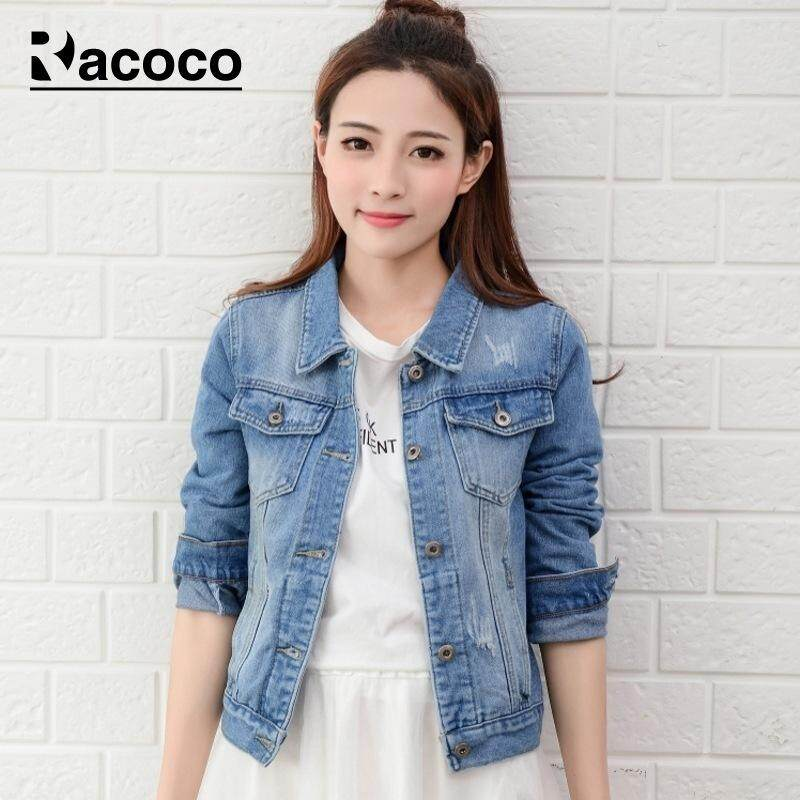 abc8e9e66651 Racoco Women Denim Jackets Fashion Slim Coats Denim Jacket Long Sleeves  Tops Lady Clothing