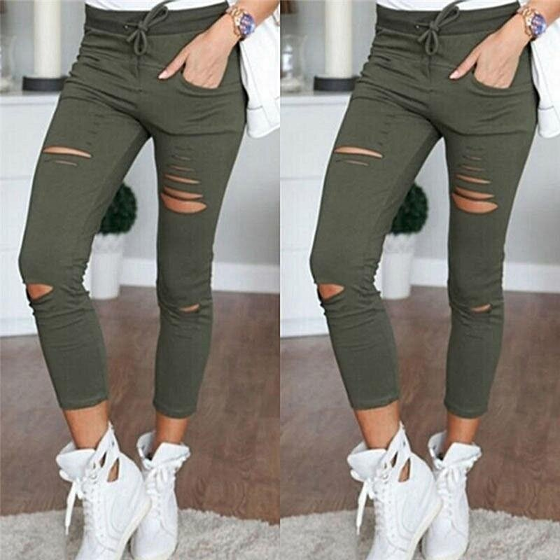 9ad05751f6c Veli shy Women Ripped Holes Capri-pants Pencil High Waist Pants Skinny  Trousers White Int