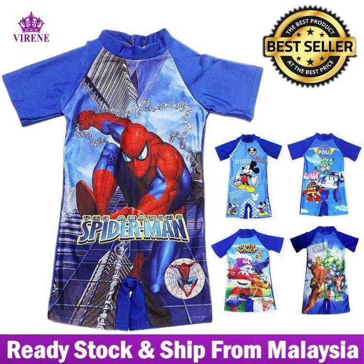 d744e59eb6  Ready Stock - Fast Delivery Cartoon Design One Piece Boys Short Sleeve  Swimsuit Children s