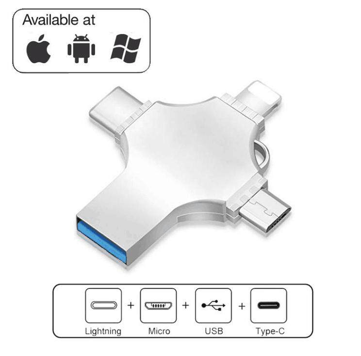 4 in 1 USB Flash Drives for iPhone/Android Type C Usb Stick OTG Pen Drive 64GB Pendrive