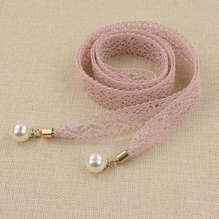 Giá bán Độ đàn hồi Mỏng Thắt Lưng Dây Chuyền Ren Ngọc Trai dây thời trang phối ren Kèm Váy Trang Trí Gái Căng dây thắt lưng Bụng