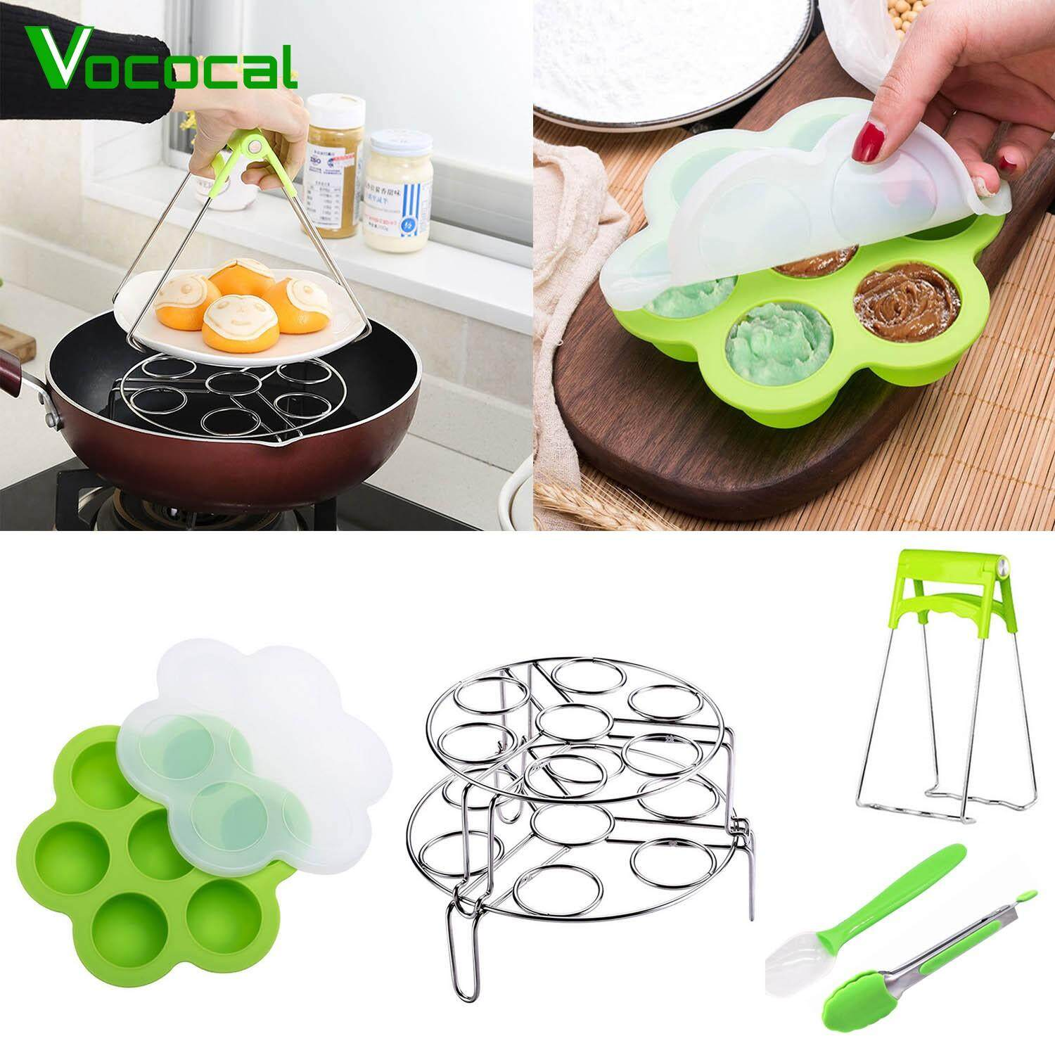 【free Shipping】vococal 6in1 Kitchen Accessories Set Compatible With Instant Pot 2pcs Stainless Steel Egg Steamer Rack Stand Basket 7-Slot Egg Bite Molds Kitchen Tong Bowl Clip 7inch Spoon By Vococal Shop