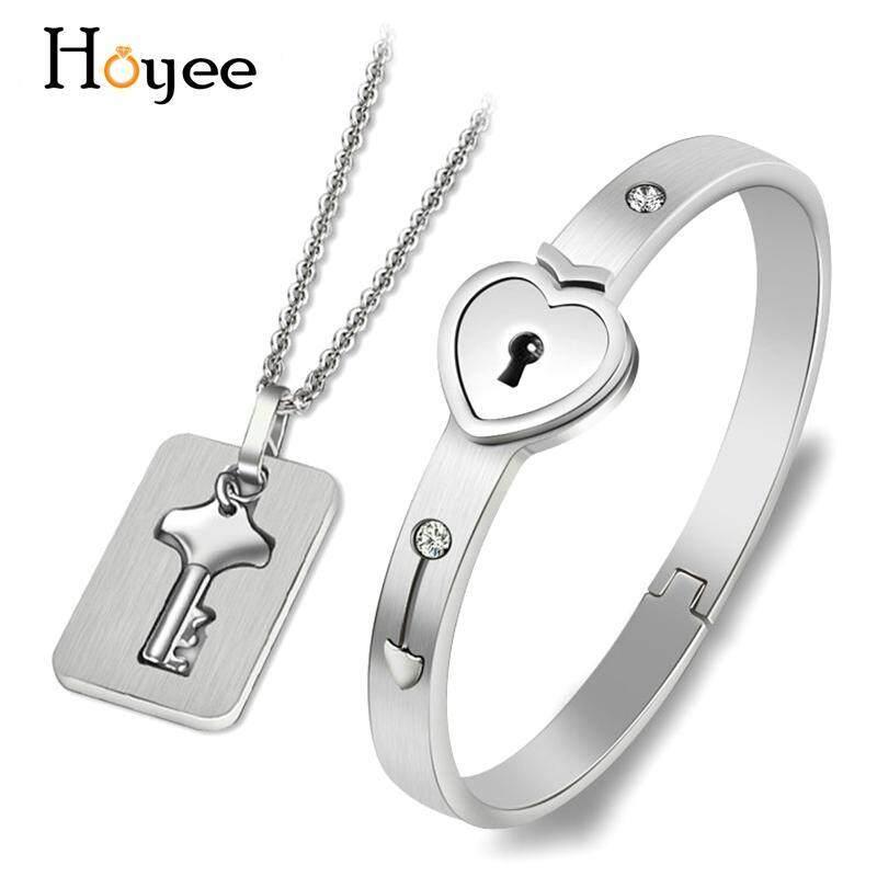 Hoyee Cặp Đôi Tình Yêu Khóa Trái Tim Vòng Tay Bangle Key Mặt Dây Chuyền Vòng Cổ Trang Sức Trang Trí Quà Tặng