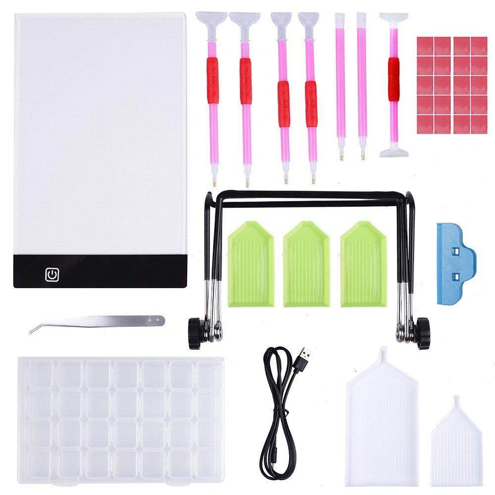 LED Pad Light Board With Stand Holder 5D Diamond Painting Tools Kit DIY Art Craft