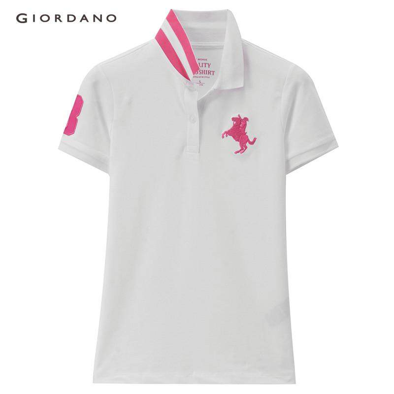0d97be0b Giordano Women Polo Shirt Embroidered Pattern Polo For Women Contrast Flat  Collar Polo T Shirt Beau Monde Free Shipping 13318388 | Lazada
