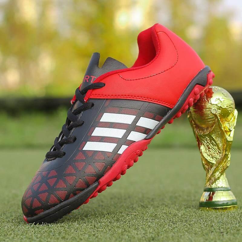 (รองเท้ากษัตริย์) ขนาด 32-43 เด็กผู้ชายเด็กฟุตบอลป้องกันการลื่นไถลสนามหญ้าฟุตบอลรองเท้าฟุตบอล TF ฮาร์ดโลกรองเท้าผ้าใบเทรนเนอร์การออกแบบใหม่รองเท้าฟุตบอล --- สีดำสีแดง --- สีดำสีเขียว --- สีฟ้าสีส้ม