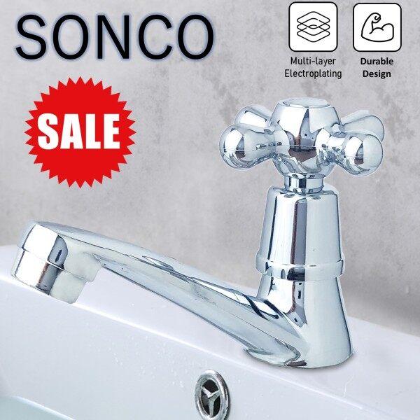 SONCO Bathroom Faucet  Bib  Water Tap Basin Sink Tap Basin Faucet Bathroom Sink Cold Water Tap Chrome Finish Tap Water Faucet Bathroom Sink Faucet Tap Restroom