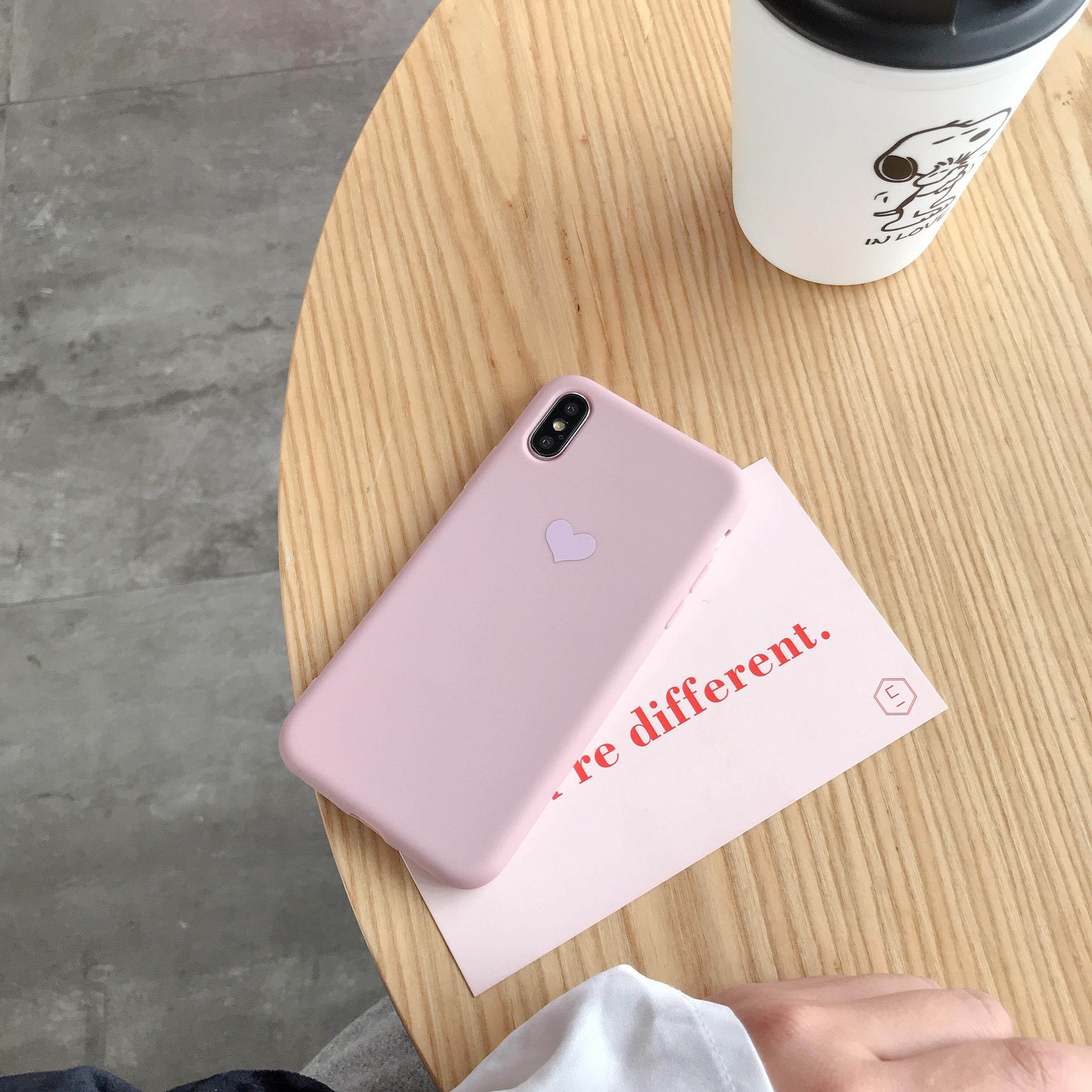 TZ Color Painted Heart-shaped Phone Case for OPPO A83,A3,A5,A7X,R17 Candy  Color Non-slip Shockproof TPU Full Protective Case