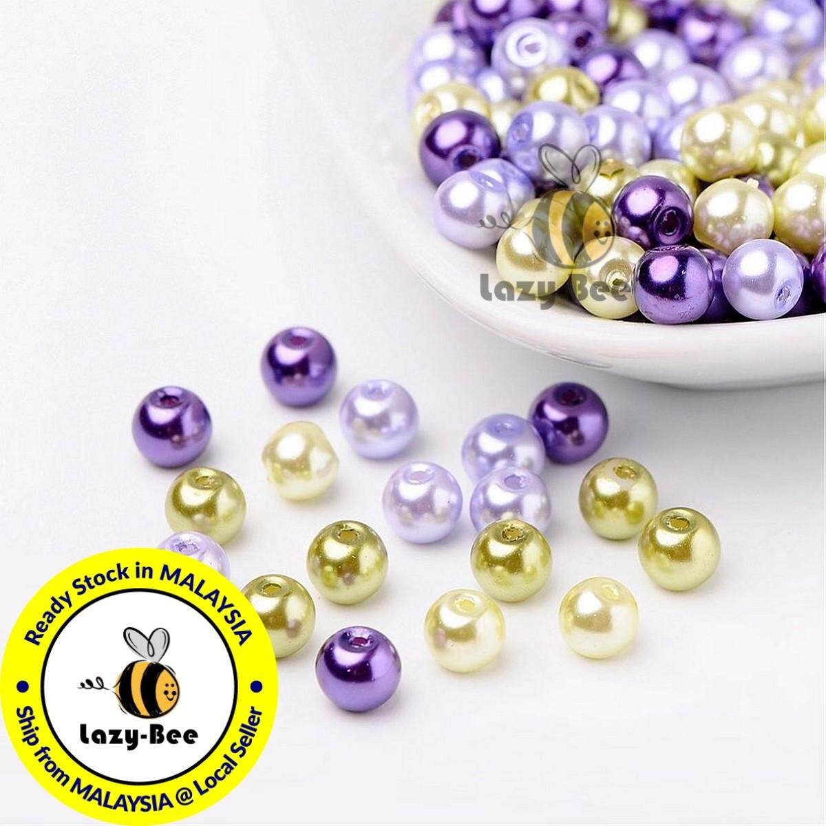 1 Bag Pearlized Glass Pearl Beads Mixed Color 6mm 1mm; about 200pcs//bag Hole