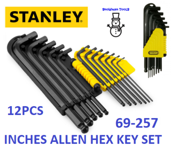 STANLEY 69257 12PCS INCHES ALLEN KEY HEX KEY SET  BALL POINT L WRENCH DRIVER 69-257 12 PCS HAND TOOL TOOLS INCH KEYS SETS 69 257 Long Arm BALL POINT END HEX KEY SET