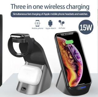 Cho 15 W Qi Máy Tính Để Bàn Sạc Không Dây, Thích Hợp Cho Apple IWatch 6 5, Đế Sạc Nhanh Thích Hợp Cho IPhone 12 13 Pro Max XS Max XR X Airpods Pro Samsung S20 S10 thumbnail