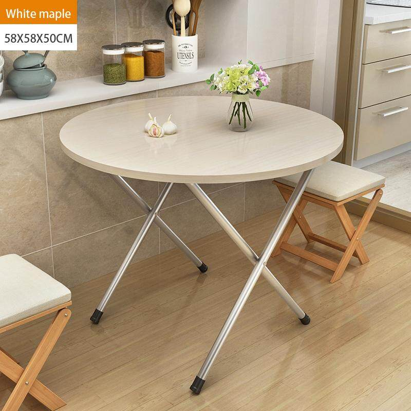 58x58x50cm, Folding Round Tbale, Wood Panel, Steel Frame, Snack Table Set,Drop-leaf Table, Folding Table, Drop-leaf Table, 4Person, 6 Person
