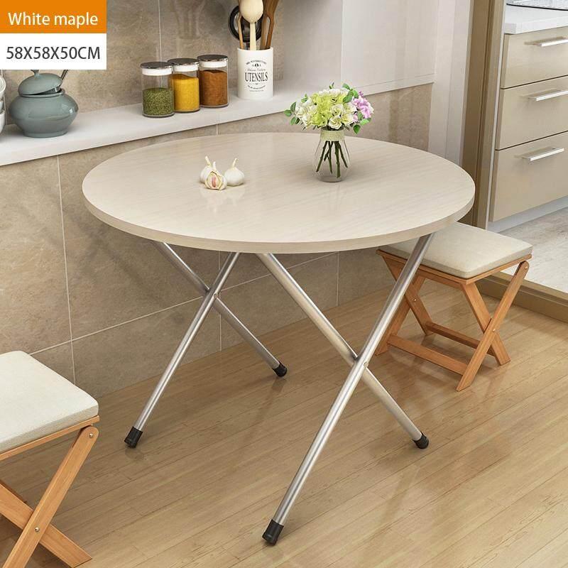 58x58x50cm, Folding Round Tbale, Wood Panel, Steel Frame, Snack Table Set,Drop-leaf Table, Folding Table, Drop-leaf Table, 4Person, 6 Person