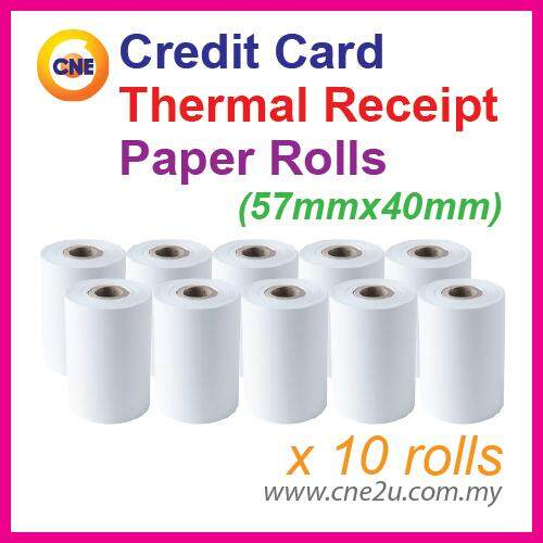 Credit Card Thermal Receipt Paper Rolls 57mm X 40mm (10 Rolls) By Cne Stationery.